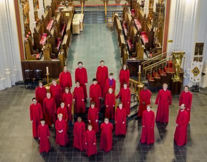 Senior Choir boys and men in the Cathedral Church of All Saints, Halifax (2019).