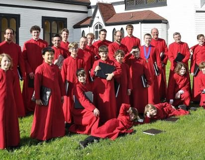 Group shot of the choir on tour