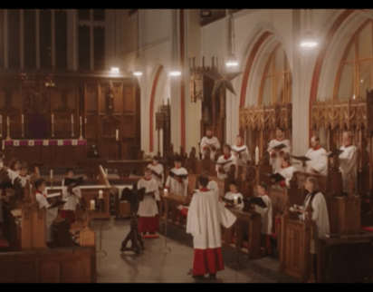 Screen shot from Evensong video showing choir in Cathedral