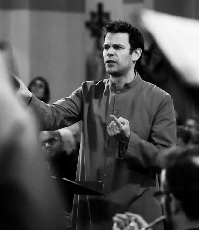 Nick Halley conducting during a performance