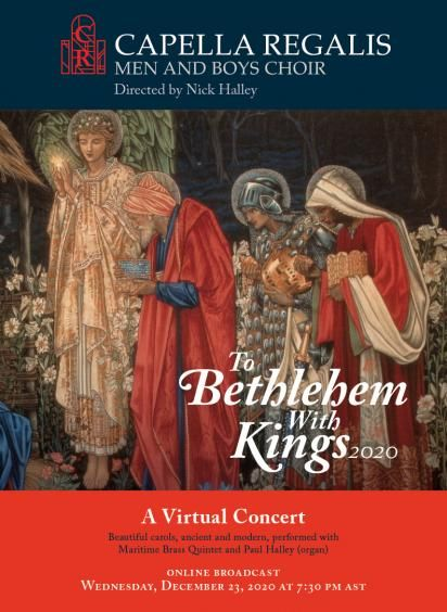 Concert poster for To Bethlehem With Kings 2020 including fairytale nativity setting of three kings and angel holding star